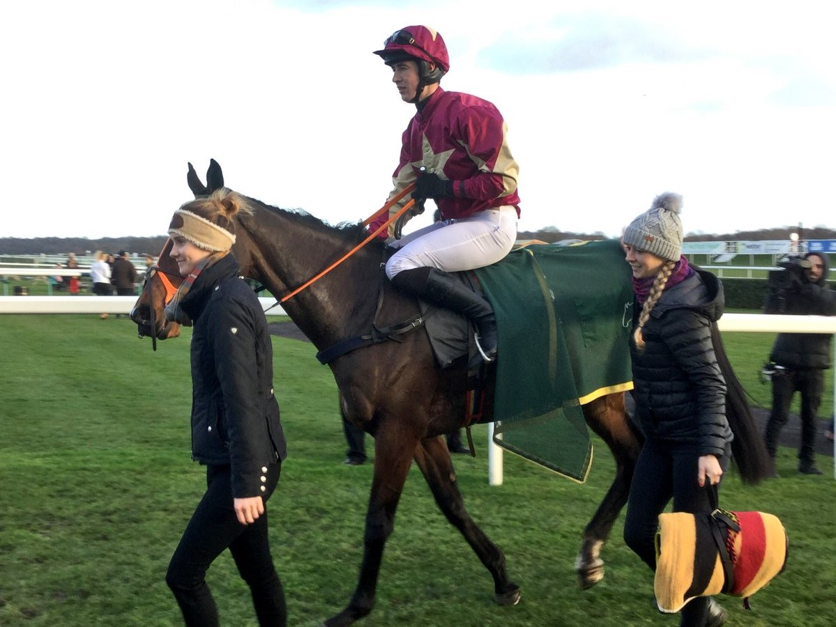 Treackle Tart and Paul O'Brien after winning at Doncaster Racecourse