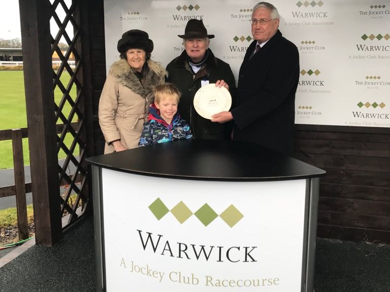 Winning connections of Louse Talk collecting their prize at Warwick (including assistant trainer, Fred)