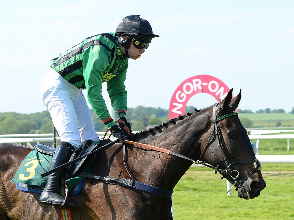 Nightline and Jonathan Burke winning at Bangor Racecourse