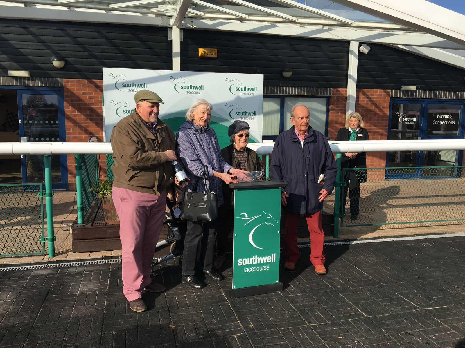 Tessa Birch and Rosemary Doel collect their winning prizes at Southwell