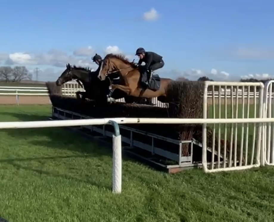 Shah An Shah & Nightfly schooling around Southwell racecourse